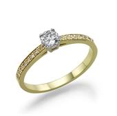 טבעת יהלום 0.2 קראט עם זהב במשקל 2.2 גרם