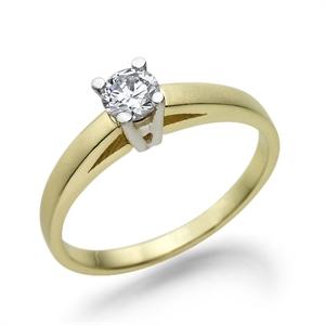 תמונה של טבעת יהלום 0.2 קראט עם יהלומים צדדיים במשקל 0.16 קראט