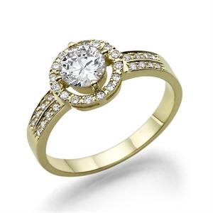 תמונה של טבעת יהלום 0.25 קראט עם יהלומים צדדיים 0.18 קראט